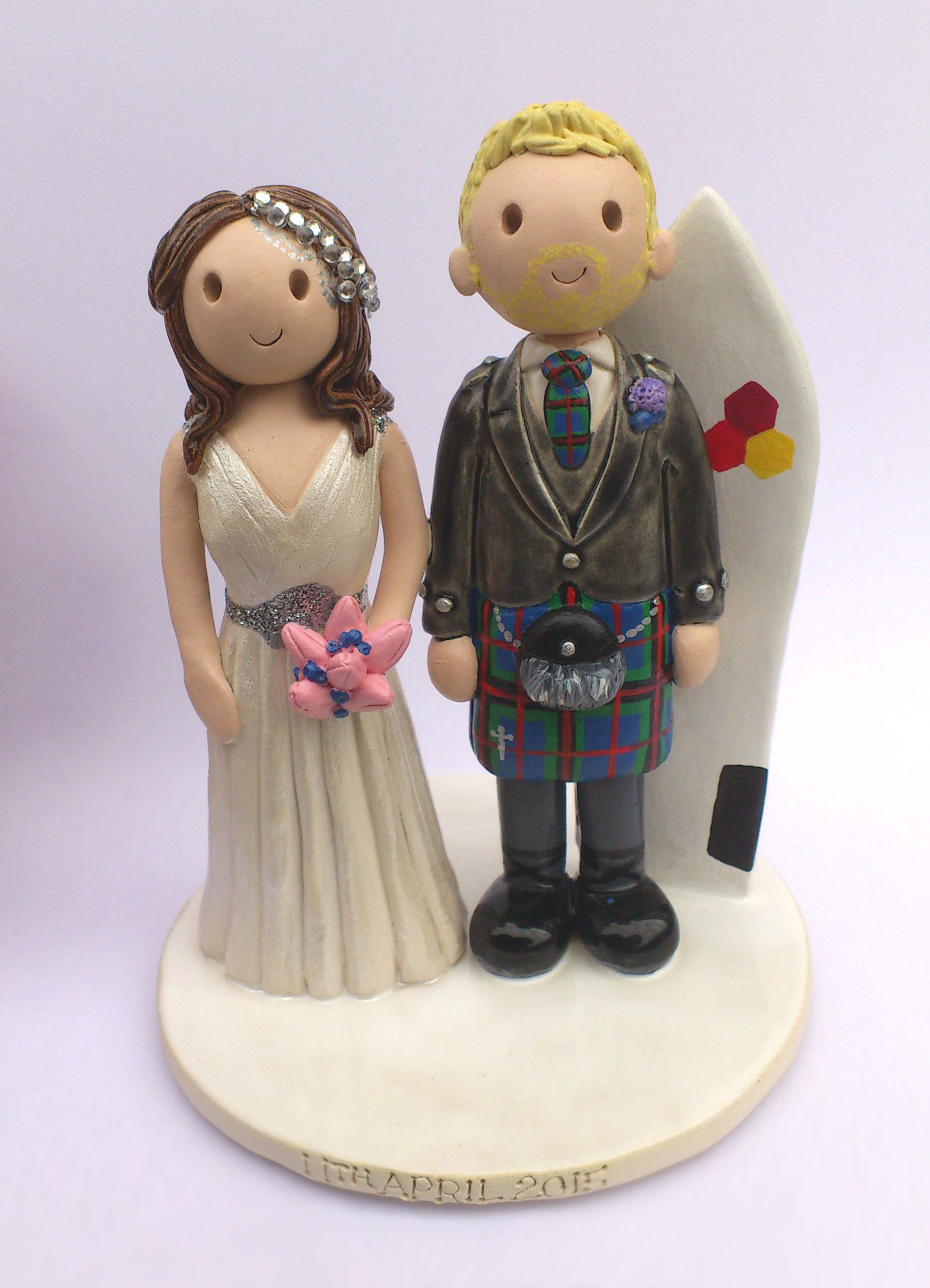 Personalised Clay Wedding Cake Toppers