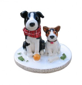Christmas dogs cake topper