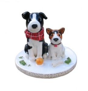Christmas dogs cake topper