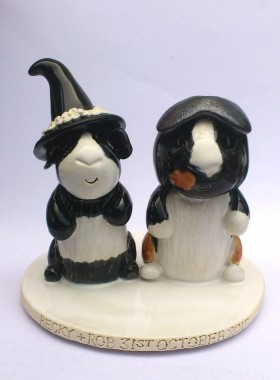Witch And Motorcyclist Guinea Pig Cake Topper
