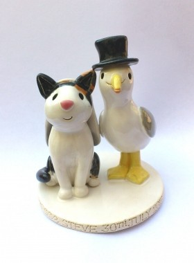 Seagull and Cat Cake Topper