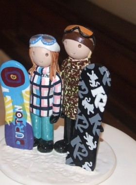 Snowboard Wedding Cake Topper