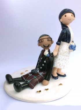 Bride Dragging Groom Cake Topper
