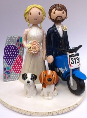 Motorbike And Bodyboard Cake Topper