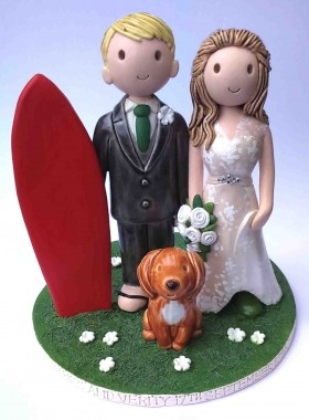 Surfing cake topper